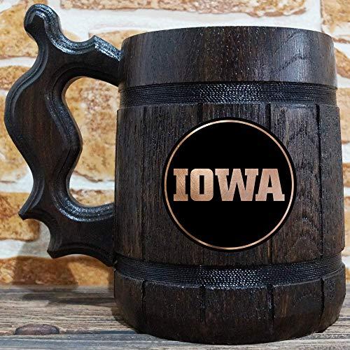 University of Iowa Beer Mug, Wooden Beer Stein, Sport Gift, Personalized Beer Stein, University of Iowa Tankard, Custom Gift for Men, Gift for Him