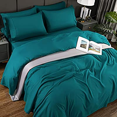 Newspin Bed Sheet Sets King Size Super Soft Bedding Sheets 1800 Brushed Microfiber Wrinkle Resistant Sheet fit 16 inch Deep Pocket Mattress(King- Teal 6 Piece)