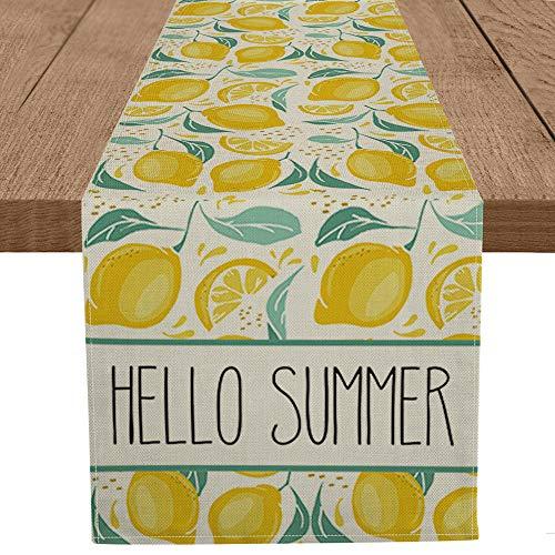 Artoid Mode Hello Summer Lemon Table Runner, Seasonal Spring Summer Fruit Kitchen Dining Table Decoration for Home Party Decor 13 x 108 Inch