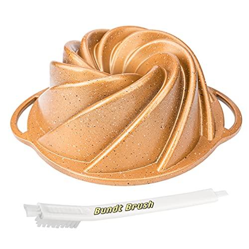 """Desenla Bundt Pan Nonstick With Handles, 10 Cup, 9.5""""x4.0"""" & Bundt Cake Pan Cleaning Brush Tool"""