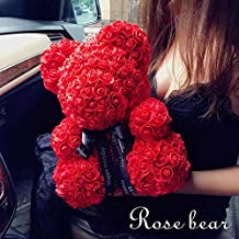 Rose Bear - Thanksgiving Christmas Valentine's Day Mom Anniversary Best Perfect New Unique Heart Thank you Teddy Gift Ideas for Lovers Women Men Wife Husband Him Her Son Daughter Wedding Birthday 25cm