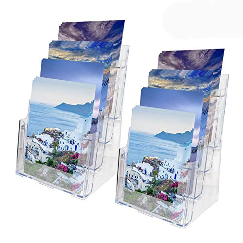 Soporte para Documentos Tamaño A4 (2 Pack) - Expositor Folletos 4 Niveles Acrílico Transparente (35 H x 23 W x 17 D) cm - Soporte de Sobremesa y de Pared para Panfletos, Revistas