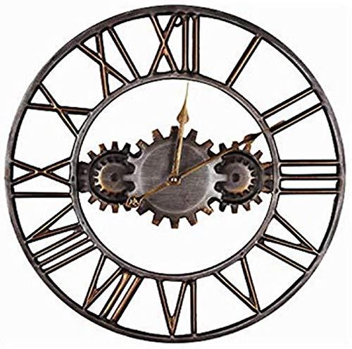 JJDSN 17.7 Zahnrad Eisen Kunst Kreisförmige Wanduhr Römische Ziffern Moderner Stil Kreative Vintage Stille Wanduhr Uhr Schmiedeeisen Industrielle Eisenuhr Handwerk