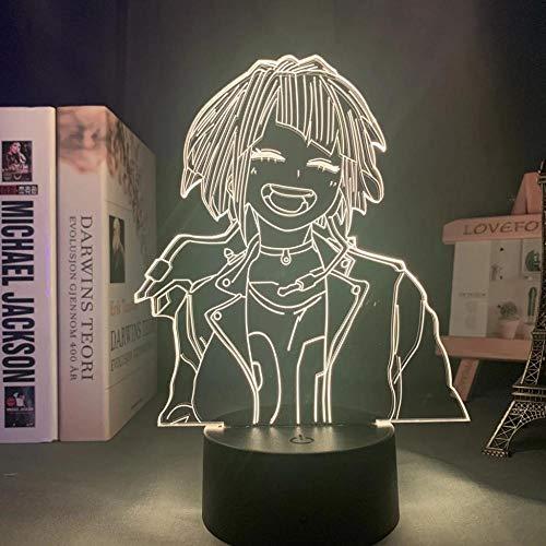 Anime My Hero Academia Kyouka Jirou lámpara Cool 3D ilusión noche luz hogar decoración acrílico LED mejor cumpleaños, festival regalos lámparas (16 colores con control remoto)