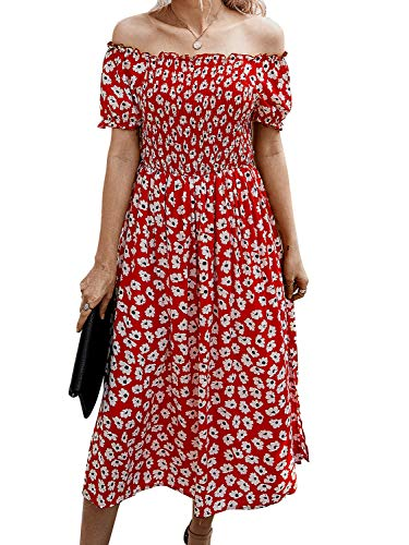 Summer Split Midi Dress-Boho Floral Off Shoulder Strapless Split Beach Flowy Midi Dress RED l