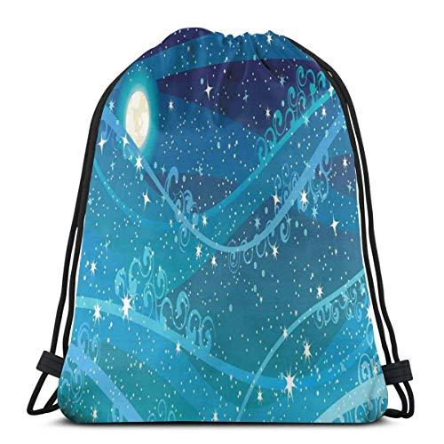 XCNGG Bolsas con cordón Bolsa de deporte para gimnasia Viaje, cielo nocturno con luna llena Tema de astronomía Puntos Rayas Patrón de remolinos