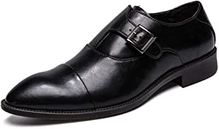TAZAN Nouvelles Affaires urbaines Robe Robe Hommes Chaussures coulissantes Boucle Derby Pointu Bas Plat Grande Taille Cuir...