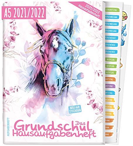 Hausaufgabenheft Grundschule 2021/2022 A5 [Pferd] | Das Grundschul-Hausaufgabenheft für Mädchen + Lerntipps, Sticker, Lern- und Denkspiele | nachhaltig & klimaneutral