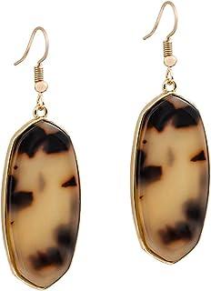 XOCARTIGE Dangle Earrings for Women Mottled Resin Acrylic Earrings Rhombus Drop Hook Earring for Girls