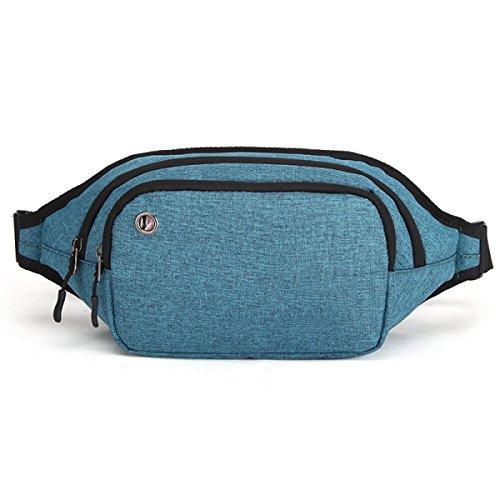 LYFLYF Homme Sports Extérieur Course à Pied Fitness Imperméable à l'eau Tissu Oxford Résistant Aux Déchirures Coffre Taille des Paquets Sac,Blue