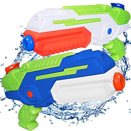 MOZOOSON Giocattoli Estivi per Ragazzi di 3-8 Anni, 2 Pistole ad Acqua con 1L capacità, Super Water Pistol Guns con Raggio di Tiro Lungo 10M per Bambini Adulti, Squirt Guns per Spiaggia Piscina
