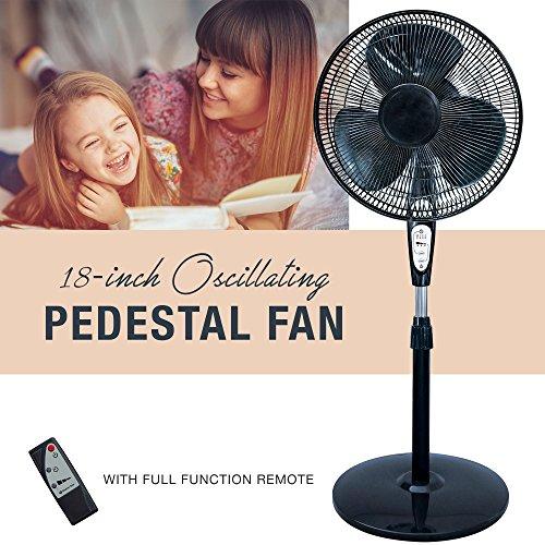 HowPlumb 3 Speed Oscillating 18-in. Pedestal Fan with Remote Control, Adjustable Tilt with Metal Grilles, Black