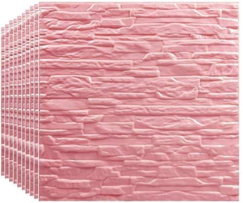 3D Backsteinwandplatten Aufkleber PE Schaum Abnehmbare Nachahmung Backsteinmauerdekoration Kunst für Wohnzimmer, Schlafzimmer, Bar, TV-Wand, Büro (Color : Pink, Size : 20 Piece)