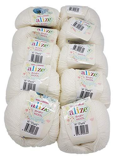 10 x 50g Strickwolle Alize Baby Wool mit 20% Bambus und 40% Wolle, 500 Gramm Strickwolle einfarbig (weiß 55)
