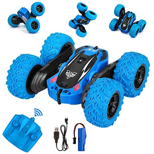 Etmury Ferngesteuertes Auto RC Stunt Auto 360° Taumeln & Spinnen mit LED-Lichter 2,4 GHz 4WD Hohe Geschwindigkeit 2 wiederaufladbaren Akku für Kinder Weihnachten Geburtstagsgeschenk (Blau)