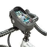 BAIGIO Bolsa de Manillar Bolsa de Tubo Superior de Bicicleta Soporte para Teléfono Celular con Pantalla Táctil Bolsa de Marco Frontal (Negro)