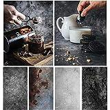 Bcolor Hintergrund für Lebensmittel-Fotografie, Papier, Beton, 2 Stück, 56 x 88 cm, schwarz, doppelseitig, für flache Produkte, Fotoshootings, Tischbilder, Requisiten, 4 Muster