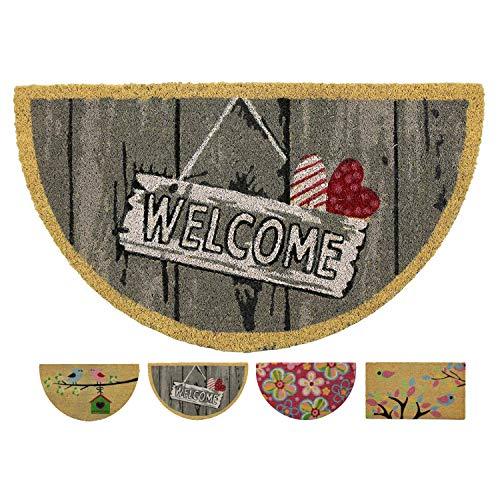 LucaHome - Felpudo Coco Natural 40x70 Antideslizante, Felpudo de Coco Cartel Welcome, Felpudo Absorbente Entrada casa, Ideal...