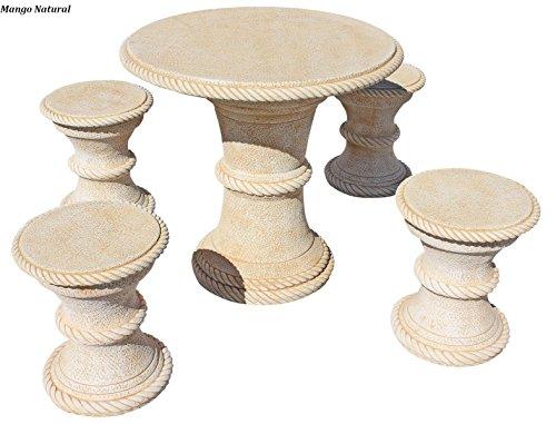Conjunto Mesa Comedor Jardin DE Piedra Artificial con Fibra.Mesa + 4BANCOS Desmontable Mango Color (Natural)