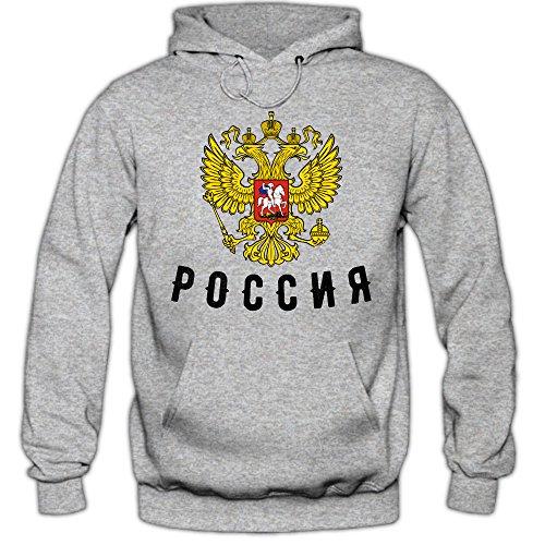 Shirt Happenz Russia Cyrillic Hoodie Fußball WM 2018 Eishockey Ice Hockey Russland Russian Federation Kapuzenpullover, Farbe:Graumeliert;Größe:M