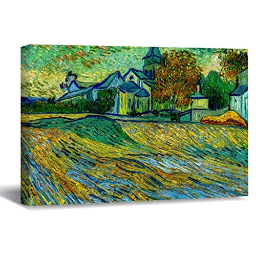 Vincent Van Gogh View of The Church Canvas Picture Painting Artwork Wall Art Poto Framed Canvas Prints for Bedroom Living Room Home Decoration, Ready to Hanging 16'x24'