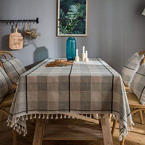 JLYZB geborduurd tafelkleed grijs geruit geborduurd tafelkleed met franjes Amerikaans Great Wall rechthoekig koffietafelkleed-Alibaba-grijs 140x220cm (55x87inch)