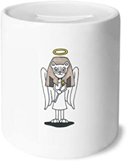 DIYthinker Angel Bastet Wing Halo Star Money Box Saving Banks Ceramic Coin Case Kids Adults