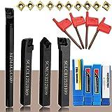 KKmoon - Portaherramientas para torno 4 piezas + inserciones de metal duro CCMT09T304 + llave T15