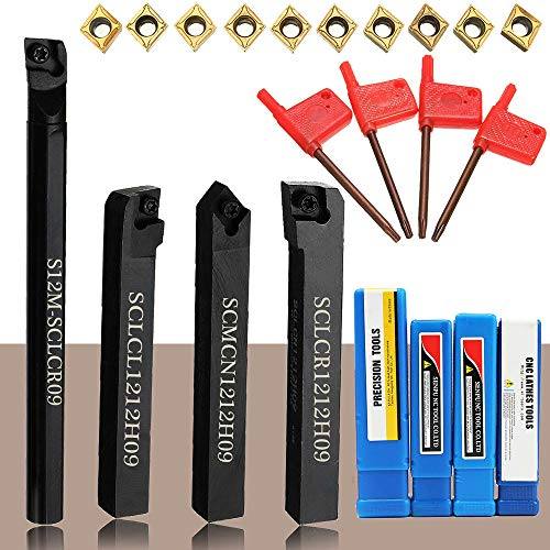 KKmoon Portautensili per tornio 4 pezzi + inserti in metallo duro CCMT09T304 + chiave T15