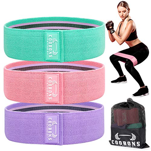 Resistance Bands for Legs and ButtExercise Bands Set Booty Bands Hip Bands Wide Workout Bands Resistance Loop Bands Anti Slip Circle Fitness Band Elastic Set 3 GreenPinkPurple