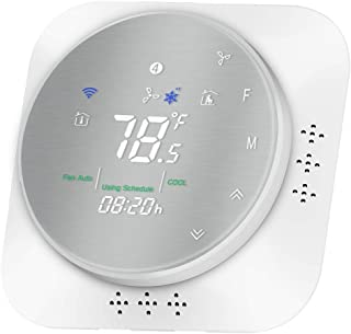 MOES Wifi Programmable Smart Thermostat, Heat Pump Temperature Controller Wireless Smart Life/Tuya App Remote Control, Compatible with Google Home and Alexa, C-Wire Required, Metal Brush Panel