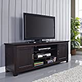 Home Accent Furnishings Romeo 70' Solid Wood TV Stand with Sliding Doors in Espresso