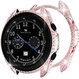 OHPROCS Case Cover Compatible with Samsung Galaxy Watch 3 41mm 45mm Band Accessories Luxurious Full Diamond Bling PC Bumper (Pink, 41mm)
