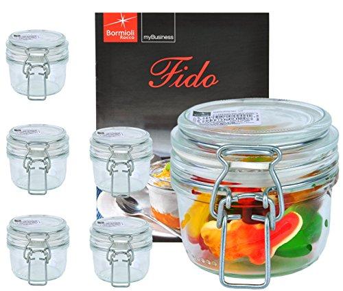 Bormioli Rocco 6er Set Drahtbügelglas FIDO, 125 ml, Einmachglas mit Bügelverschluss, inkl. Rezeptheft
