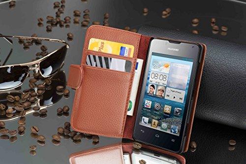 Cadorabo Hülle für Huawei Ascend Y300 - Hülle in Cognac BRAUN – Handyhülle mit Kartenfach aus struktriertem Kunstleder - Case Cover Schutzhülle Etui Tasche Book Klapp Style - 3