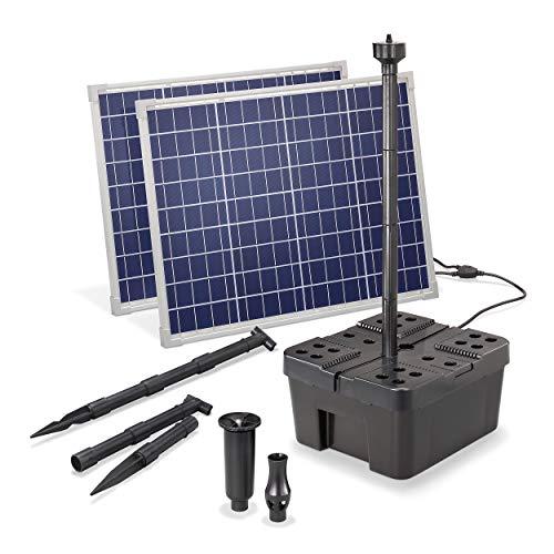 Solar Teichfilter Komplettset Professional - 3400 l/h Förderleistung + 2 x 50 W Solarmodul - Komplettset für Gartenteiche bis 7.000l - dekoratives Wasserspiel - Teichpumpe Solarpumpe esotec 100911