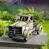 AMYZ 1/4 Piezas de decoración de jardín de camioneta Pickup Solar de Estilo Retro,Jardinera de Metal Vintage para Exteriores,Jardinera de camión Rojo Verde Azul con luz de Coche,Regalos para el h