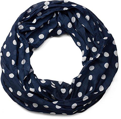 styleBREAKER Punkte Muster Loop Schlauchschal, seidig leicht, Tuch, Damen 01016111, Farbe:Dunkelblau-Weiß