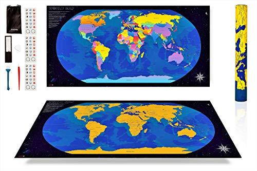 ANFIPO Mapa Para Rascar Scratch Map – Mapa del Mundo de Pared (Azul) y Dorado 840 * 420mm con Países de Colores - Mapamundi Para Rascar y Registrar tus Viajes