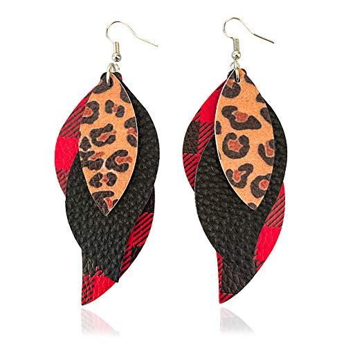 LNKRE JEWELRY Leather Earrings for Women Multilayer Buffalo Plaid Leopard Print Leaf Drop Earrings Lightweight Layered Teardrop Dangle Statement Earrings Girl Christmas Gifts 3