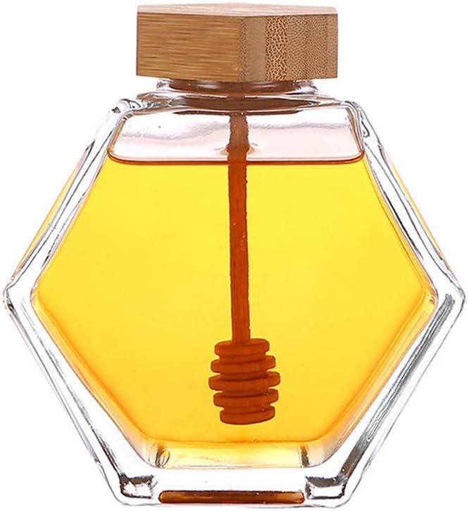 1 tarro de miel de vidrio grueso transparente con forma hexagonal 220ml con tapón de madera y tapa de corcho vacío rellenable dispensador de colmena contenedor de almacenamiento de alimentos