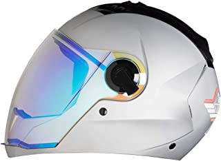 Steelbird Exclusive SBA-2 7WINGS Full Face Helmet in Matt Finish with Dual Action Night Vision Blue Visor (Large 600 MM, Matt Silver)