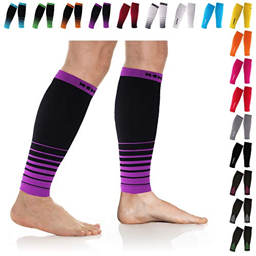 NEWZILL Compression Calf Sleeves (20-30mmHg) for Men & Women - Perfect Option to Our Compression Socks - for Running, Shin Splint, Medical, Travel, Nursing, Cycling (S/M, i-Black/Purple)