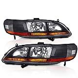 AJP Distributors Honda Accord Sedan Coupe Headlights Lamps (Black Amber)