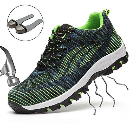 SUADEEX Scarpe Antinfortunistica S3, Per Uomo E Donna, Leggere, Con Puntale In Acciaio, Scarpe Sportive, Verde (02 Verde.), 41 EU