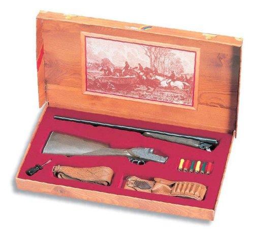 Scatola in stile antico Equipaggiato con cintura, fucile e bossoli di plastica Fucile in zinco