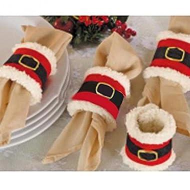 Zerowin 4pcs Christmas Napkin Rings Holder,Santa Belts Design,Party Dinner Table Decor