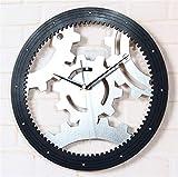 GYNMR Reloj Creativo Continental Creatividad Moda 3D Vintage Silent Gear Reloj de Pared Decoración Regalos Dormitorio Sala de Estar Estudio Habitación de Los Niños Fondo WA