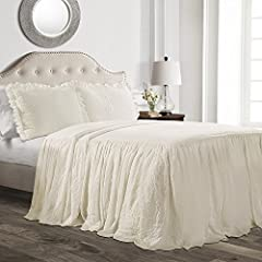 """Elegant and delicate ruffle edge give you a charming and pretty queen bedding set. 3 piece set includes a queen size bedspread (80""""H x 60""""W + 30"""" drop) and 2 matching shams (20""""H x 26""""W + 2"""" ruffle). Feminine, shabby chic style bedspread with fabric ..."""