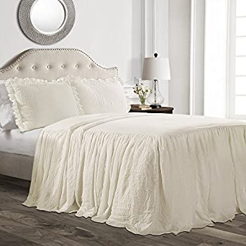 Lush Decor Ruffle Skirt Bedspread Ivory Shabby Chic Farmhouse Style Lightweight 3 Piece Set Queen